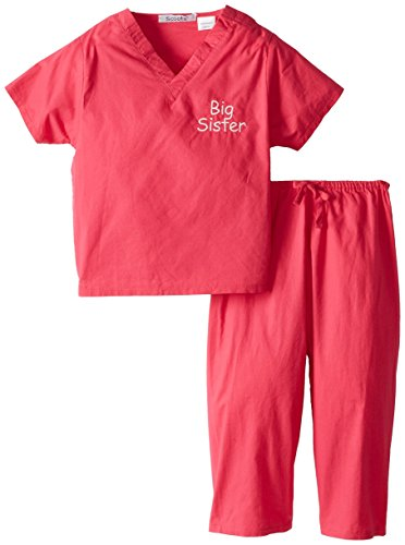 Scoots Kids Scrubs for Girls, Big Sister Embroidery, 4T, Hot -