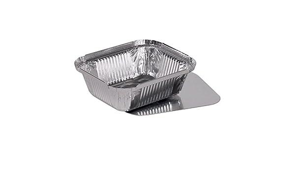 100 bandejas de aluminio cuadrado pequeño + tapa de cartón (tuberías) modelo
