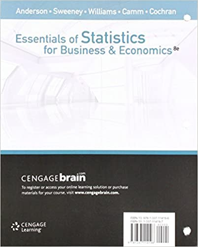 Bundle: Essentials of Statistics for Business and Economics, Loose-leaf Version, 8th + LMS Integrated for MindTap Business Statistics, 1 term (6 months) Printed Access Card