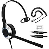 Deluxe Single Ear Noise Canceling Headset For Call Center/Office with adapter For ALL Cisco 6000, 7800 and 8000 series phones and also models 7931 7940 7941 7942 7945 7960 7961 7962 7965 7970 7975