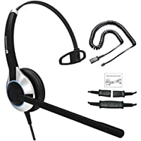 Deluxe Single Ear Noise Canceling Headset For Call Center/Office & Cable For Cisco IP Phones 7931G 7940 7941 7942 7945 7960 7961 7962 7965 7970 and M12, M22 Amplifiers