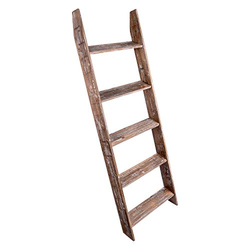 Simply Superlative Rustic Wood Wall Leaning Blanket Ladder, Decorative Ladder, Leaning Shelf, Blanket Rack, 4.5 Foot Storage Ladder