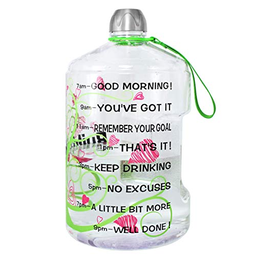QuiFit 1 Gallon Sports Water Bottle with Motivational Time Marker 128/73/43 oz Large Capacity BPA Free Reusable Jug with Handle to Drink More Water(128oz Love Tree)