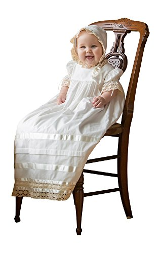 Strasburg Children Lace Christening Gown for Babies w/ Bonnet Baptism dress (6 month, (Traditional Christening Gowns)