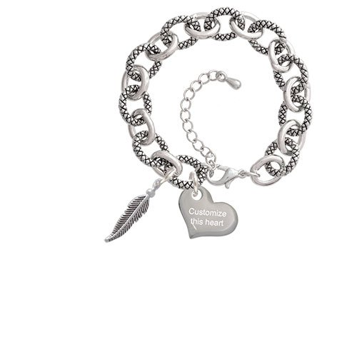 Small 3-D Feather Custom Engraved Heart Diana Charm Bracelet