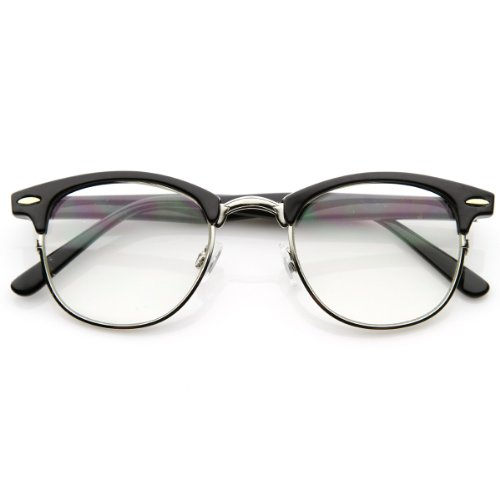 zeroUV - Optical Quality Horned Rim Clear Lens RX'able Half Frame Horn Rimmed Glasses (Black-Silver),One size