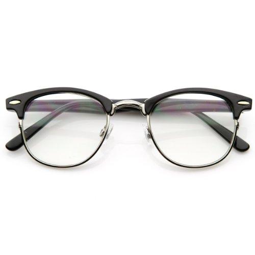 zeroUV - Optical Quality Horned Rim Clear Lens RX'able Half Frame Horn Rimmed Glasses (Black-Silver),One size (Klare Gläser Frames Amazon)