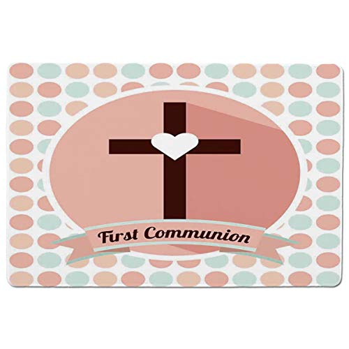 - SCOCICI Gaming Speed Version Medium Cloth Mouse Mat First Communion Design Heart Shape Pattern Dotted Background Ornamental Illustra Mousepad for Home and Office Not Fad Locking Edge