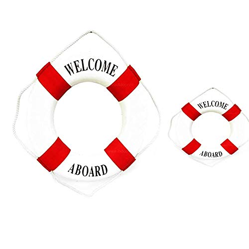 2 PCS Red Different Size Welcome Aboard Cloth Decorative Life Ring,6&10 inches New for Decoration