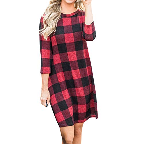 Clearance Sale! Wintialy Women Casual Plaid Printed 3/4 Sleeve Round Neck Ladies Simple Loose Mini Dress