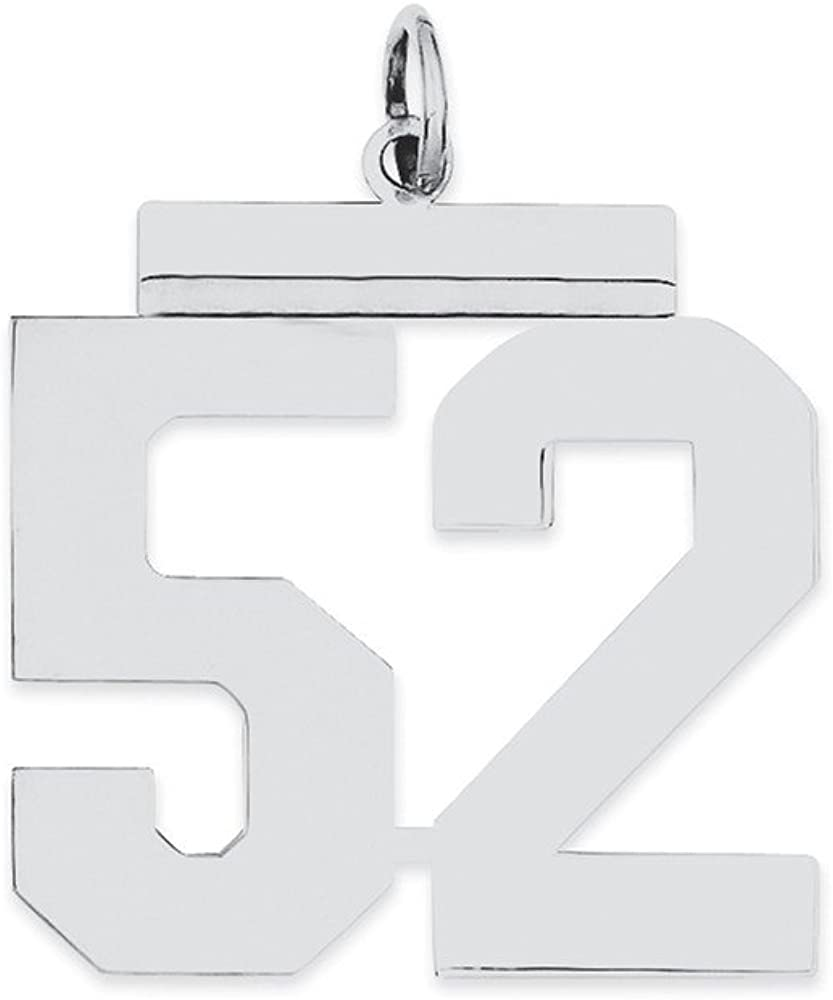 Sterling Silver Large Polished Number 52 on a Sterling Silver Cable Snake or Ball Chain Necklace