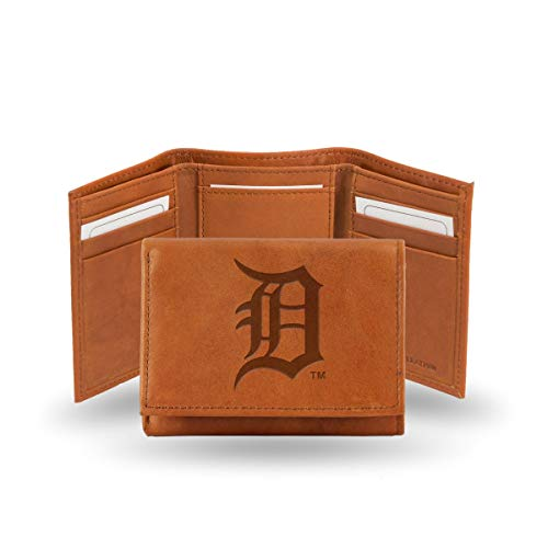 Team Logo Wallets - Rico Detroit Tigers MLB Team Logo Embossed Brown Leather Trifold Wallet