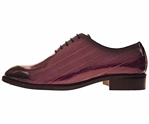 Brayden - Men's Dress Shoes - Exotic EEL Skin Print, Oxford Lace-Ups, Black Burnished Toe - Exotic Formal Shoes for Men - Original, Designer Shoes