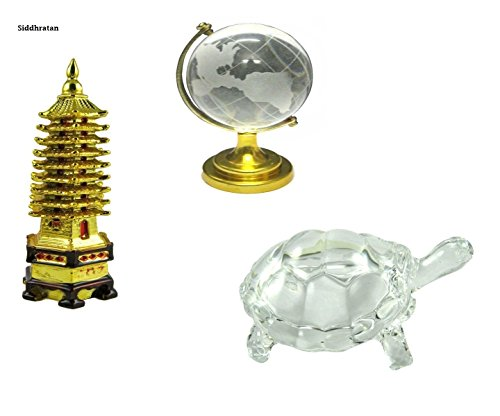vastu feng shui set of crystal tortoise + education tower + crystal globe for better education, concentration good luck health and achievement + Free Rudraksha Bracelet Combo of - Tortoise Buy Online India