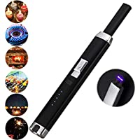 Electric Pulsed Arc Lighter for BBQ Candle Fireplace Windproof Safe Kitchen Rechargeable USB Lighters (Black)