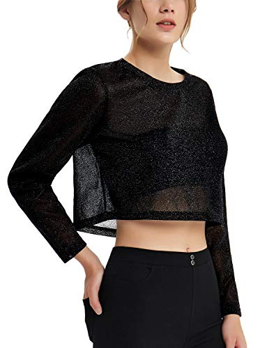 Sexy Crop Top for Women Metallic See Through Glitter Cropped Shirt Blouse