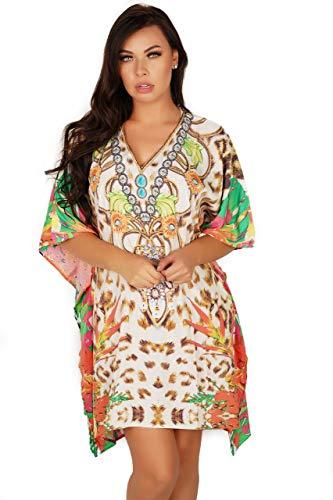 (Lovely Lies Short Kaftan Sun Dress for Women Flowy Swimming Suit Cover Up Resort Cruise Wear Boho Caftan)
