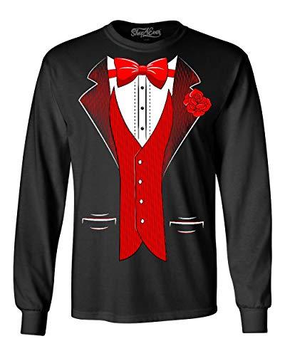 Shop4Ever Classic Tuxedo Long Sleeve Shirt Party Costume Shirts X-Large Black 0