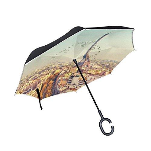 Ladninag Eiffel Tower at Sunset Paris France Inverted Umbrella, Large Double Layer Outdoor Rain Sun Car Reversible Umbrella