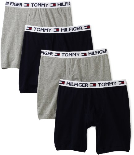 (Tommy Hilfiger Men's 4 Pack Boxer Brief, Grey/Navy,)