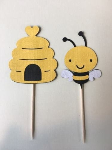 Bees and Bee hive cupcake toppers. Set of 24 Baby shower, birthday party - Beehive Cup