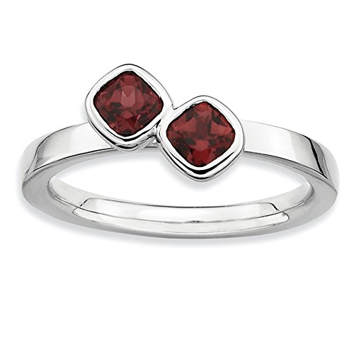 925 Sterling Silver Dbl Cushion Cut Red Garnet Band Ring Size 5.00 Stone Stackable Gemstone Birthstone January Fine Jewelry Gifts For Women For Her ()
