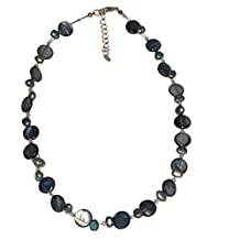 Chic-Net ladies chain pearl necklace pearl gray blue mother of pearl shell tiles 42- 48 cm Carabiner nickel free