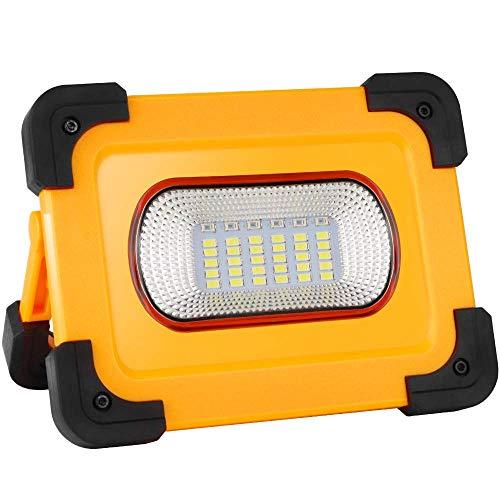 LED Baustrahler, COOLWEST 60W Akku Strahler Tragbare Solar Arbeitsleuchte, LED USB Arbeitslicht mit 4 Lichtmodi, 7800mAh…