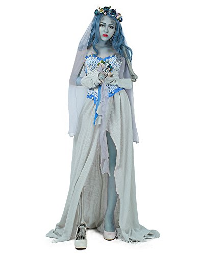 Cosplay.fm Adult Ghost Bride Halloween Costume Skeleton Cosplay (Grey)