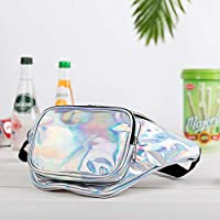 FANNYFAM Trending Holographic Fanny Pack. Cute Iridescent Waist Bag. Best for Festival, Rave, Fashion. Shiny Neon Silver…