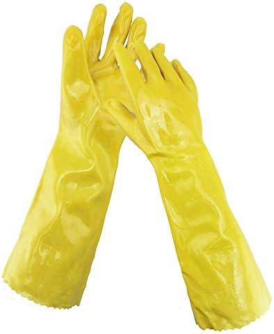 """労働保護作業用手袋 労働保険手袋/オイル/酸とアルカリ/防水/着用/保護工業用手袋、13""""、17"""" (Color : Yellow, Size : L)"""
