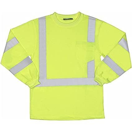 3X-Large ERB 62126 ANSI Hi Vizability Long Sleeve T-Shirt Lime Green ERBAF