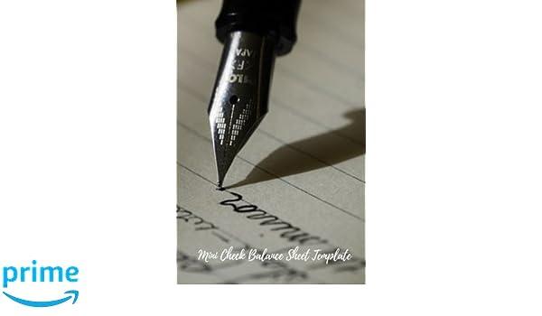 Mini Check Balance Sheet Template: Check Log: Creative