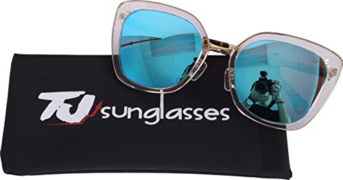 Price comparison product image TJsunglasses Cat Butterfly Polarized Sunglasses,  Oversized Stylish Designer Ultra Lightweight for Women,  100% UV protection.