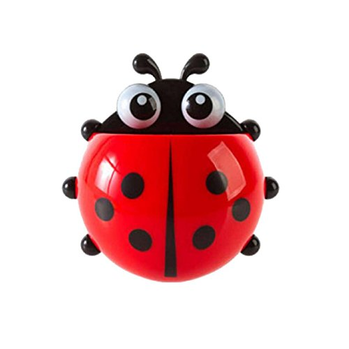 Longtian Cute Cartoon Ladybug Wall Sucker Bathroom Set Toothpaste Toothbrush Holder (Red) - Makeup For A Ladybug Costume