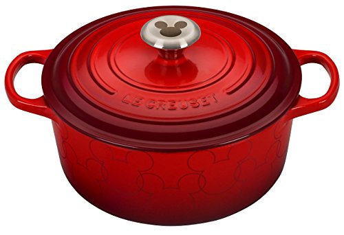 Round Mickey Mouse - Le Creuset LS2501-2467MMSS Mickey Mouse Signature Enameled Cast Iron 4-1/2-Quart Dutch Oven Round, Cerise with Applique