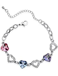Colorful Heart Swarovski Elements Heart Shaped Crystal Rhodium Plated Bracelet