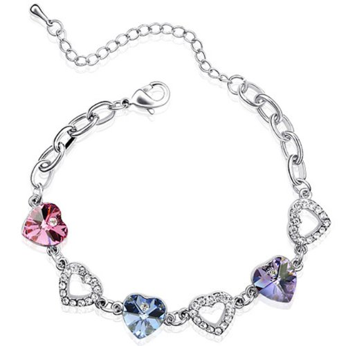 Dahlia Colorful Heart Crystal Rhodium Plated Bracelet with Crystals from Swarovski