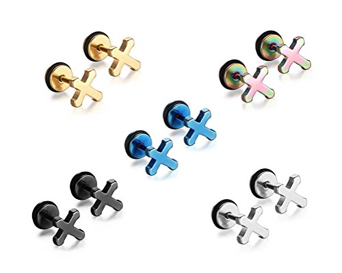 Mens Womens Stainless Steel Small Cross Ear Stud Earrings Screw Back 5 Pair/Set (Cross Stud Earrings Gold)