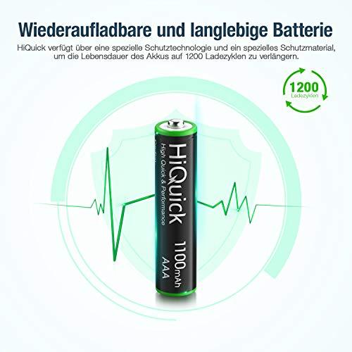 HiQuick Micro AAA Akku 1100mAh 16 Stücke - Typ NI-MH 1,200 Zyklen geringe Selbstentladung - 1,2V AAA aufladbare Batterien