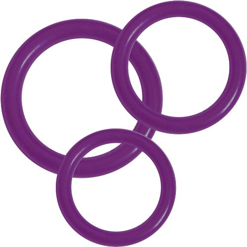 Anneaux Premium Silicone - 3 Bague (3 Erection Anneaux contrôle de différentes tailles), Violet