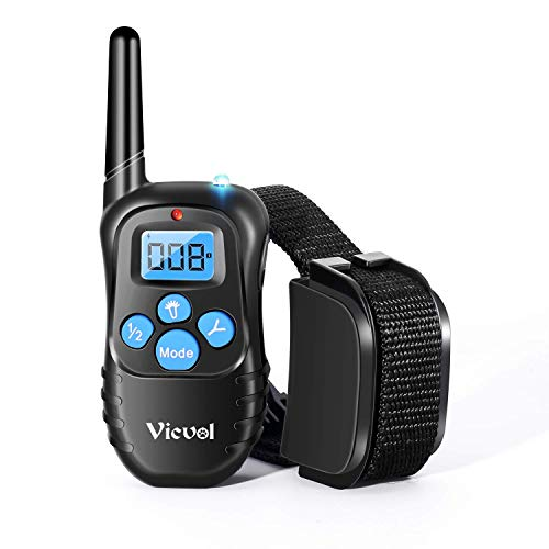 Dog Training Collar Full Waterproof Rechargeable Remote Dog Training Shock Collar with Vibration, Shock, Tone and Backlight LCD, Vibra Shock Electronic Collar