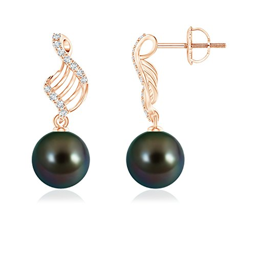 Tahitian Cultured Pearl Swirl Dangle Earrings in 14K Rose Gold (9mm Tahitian Cultured Pearl)