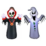 BrightTouch Halloween Inflatable Outdoor Decorations. LED Lights. 4 Feet Tall. Skeleton and Ghost (Black & White)