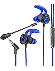 BENGOO G16 Gaming Headphones & In-ear Earphones with Mic for Mobile Game, Wired Earbuds Noise Cancelling Headset with Heavy Bass High Sound Quality 3.5mm Microphone Jack for PS4, X box One, Nintendo Switch, Laptop, PC, 3D Stereo Surround