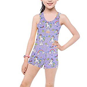 Marosoniy Leotards for Girls Bathing Suits for Kids Unicorn Gymnastics Leotard Rainbow Ballet Dance Sparkly Biketard Unitard Swimsuits One Piece