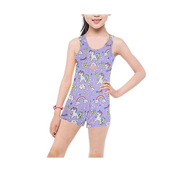 Marosoniy Leotards for Girls Bathing Suits for Kids Unicorn Gymnastics Leotard Rainbow Ballet Dance Sparkly Biketard Unitard Swimsuits One Piece 2