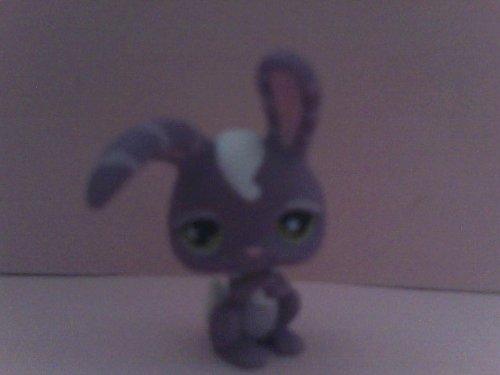 Loose Littlest Figure Pet Shop (Littlest Pet Shop Bunny Figure, Loose Not in Retail Package, Oop, Purple Bunny with Stripes on Ears, Green Eyes)