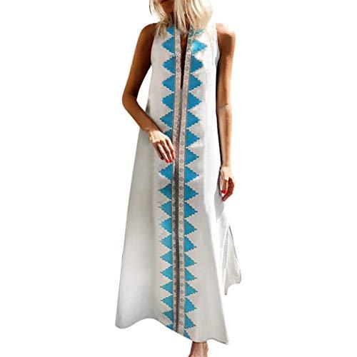 Women Maxi Dress Kaftan Tribal Print Sleeveless Long Dress Boho V Neck Beachwear Turkish Kaftans Long