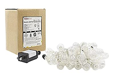Mesh Lantern Ball LED Christmas String Lights w/ Power Adapter - Warm White, 29ft Length, 40pcs Balls for Christmas, Holiday, Party, Event Decorative Lighting (Mesh Lantern Ball W/Power Adapter)